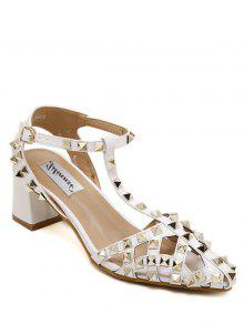 Buy Rivet Closed Toe T-Strap Sandals - WHITE 36