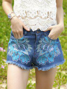 Bolsillos Bordado Pantalones Cortos De Mezclilla - Azul Hielo M