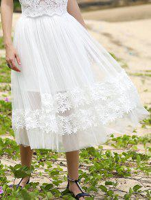 White Lace Spliced High Waist Skirt - White M