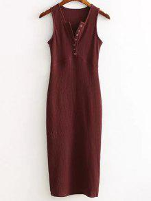 Side Slit Ribbed Dress - Wine Red