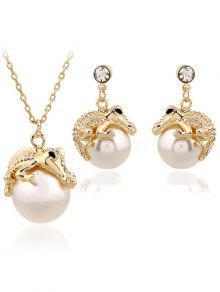Faux Pearl Crocodile Necklace Earrings - GOLDEN