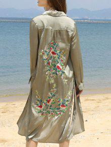 Floral Embroidery Shirt Collar Side Slit Shirt - Vert Armée S
