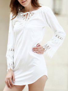 Vestido Con Escote Pronunciado Con Empalme Con Encaje Blanco - Blanco S