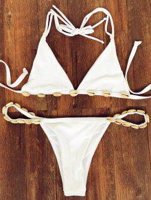 Shell Cabestro Tiras Del Bikini Set - Blanco M