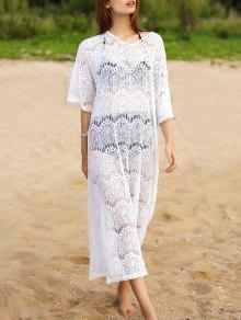 Buy Hollow V-Neck 3/4 Sleeve Lace Cover - WHITE ONE SIZE