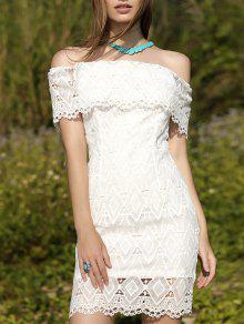 فستان المخرمات بالكتف العار - أبيض L