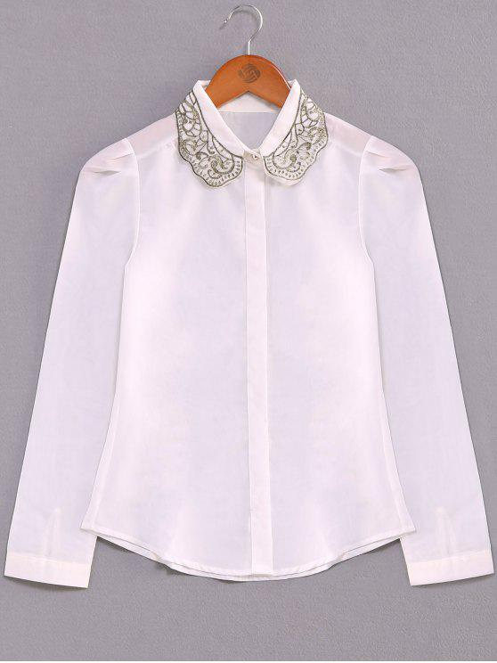 womens Embroidery Collar Loose Shirt - WHITE S