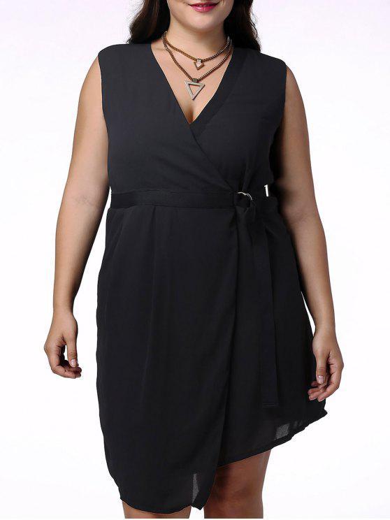 Élégant Plongeant Neck manches Wrap vestimentaire pour les femmes - Noir 4XL