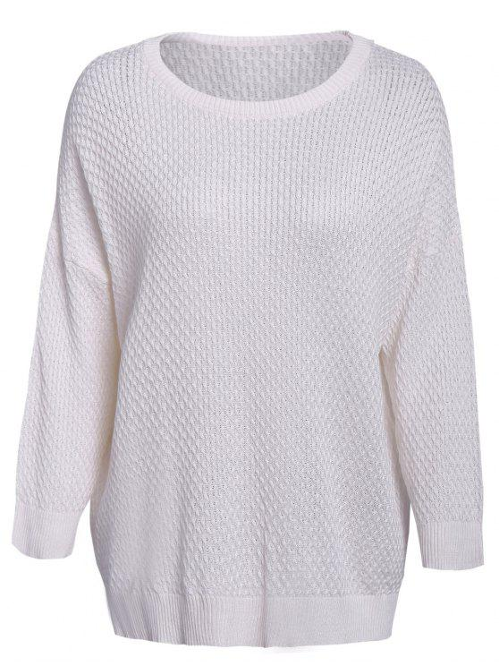 sale Solid Color 3/4 Sleeve Sweater - WHITE ONE SIZE(FIT SIZE XS TO M)