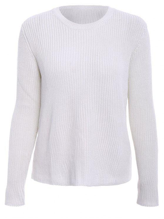 shop Solid Color Long Sleeve Knitwear - OFF-WHITE L