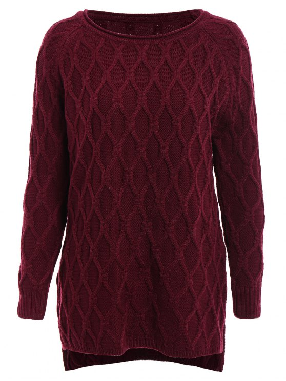 outfits Argyle Asymmetrical Long Sleeve Sweater - CLARET ONE SIZE(FIT SIZE XS TO M)