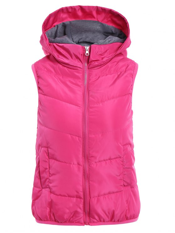 women's Solid Color Hooded Zipper Waistcoat - PLUM M