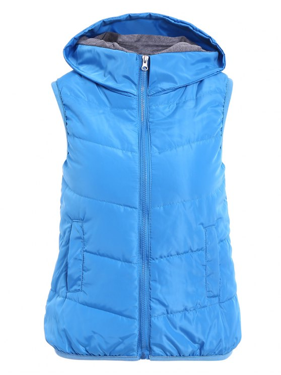 best Solid Color Hooded Zipper Waistcoat - BLUE S