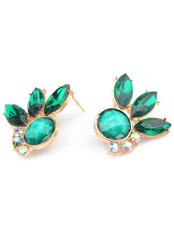 Faux Emerald Lady Leaf Earrings Green