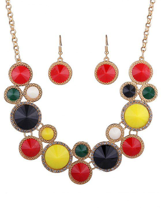 shop Faux Gem Rhinestone Round Necklace and Earrings - COLORMIX