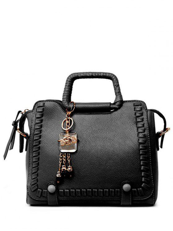 latest Pendant Weaving PU Leather Tote Bag - BLACK