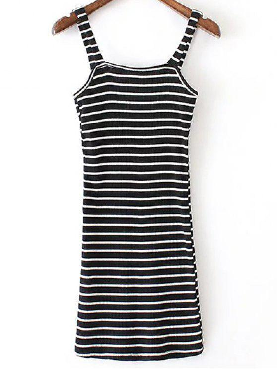 unique Fitted Striped Straps Sleeveless Dress - BLACK S