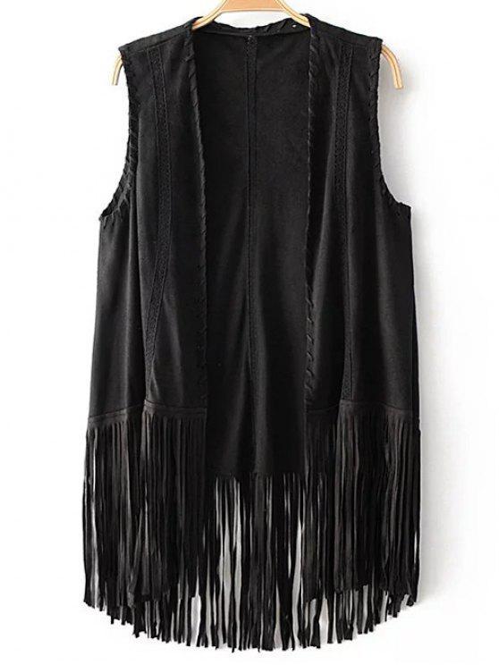 trendy Tassels Faux Suede Collarless Waistcoat - BLACK M
