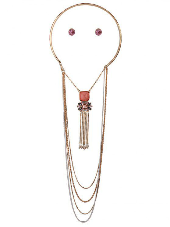 fancy Rhinestone Multilayer Chain Tassel Necklace and Earrings - PINK