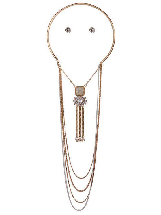 Collar y pendientes de la borla del Rhinestone cadena de múltiples capas - Blancuzco