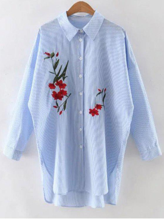 d4cc1325d9b 31% OFF  2019 Floral Embroidery Long Sleeve Stripe Shirt In BLUE