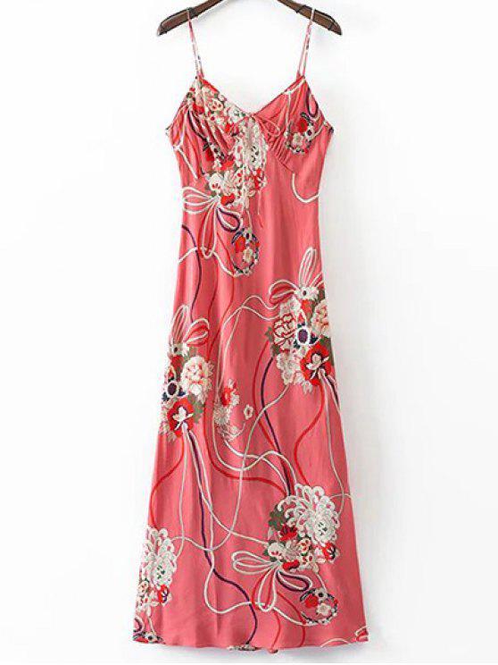 Cami floral vestido de espalda abierta - Colormix M