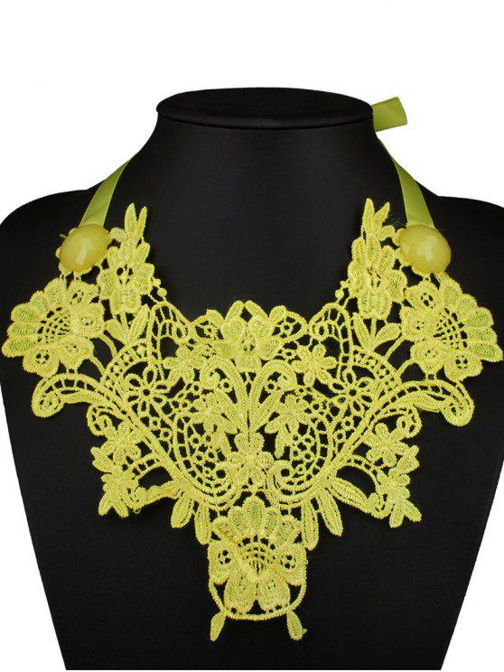 womens Faux Gem Lace Fake Collar Necklace - YELLOW