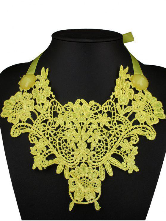 Collar collar de la falsificación de imitación de la gema del cordón - Amarillo