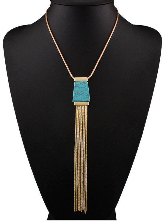 women Faux Turquoise Tassel Necklace - BLUE