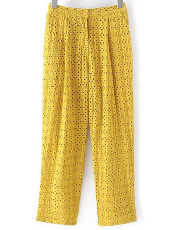 outfits Hollow Out Solid Color Pants - YELLOW M