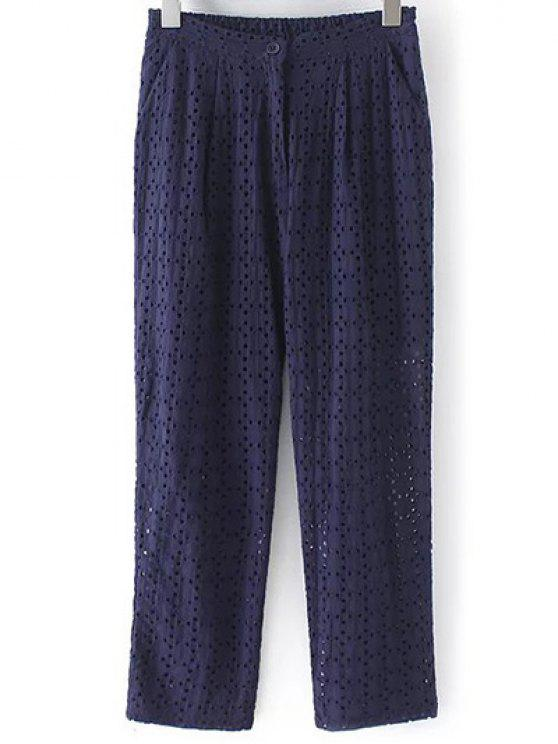 latest Hollow Out Solid Color Pants - PURPLISH BLUE M