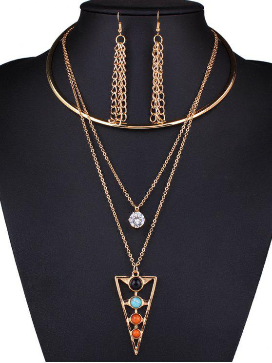 new Rhinestone Triangle Tassel Necklace and Earrings - GOLDEN
