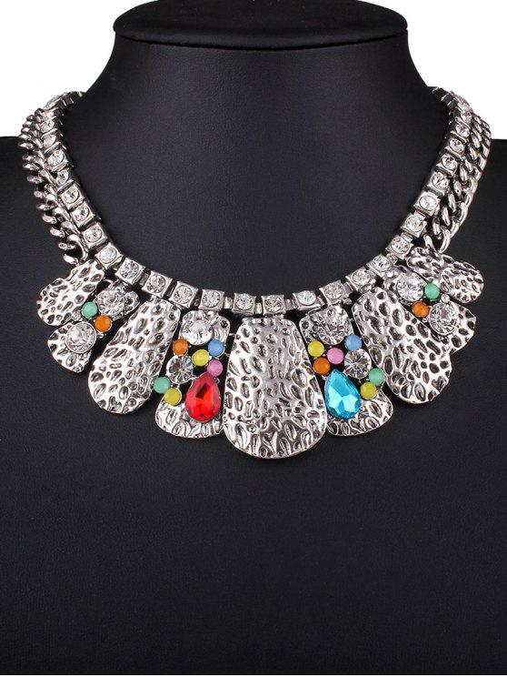 hot Rhinestone Multilayer Embossed Necklace - COLORMIX