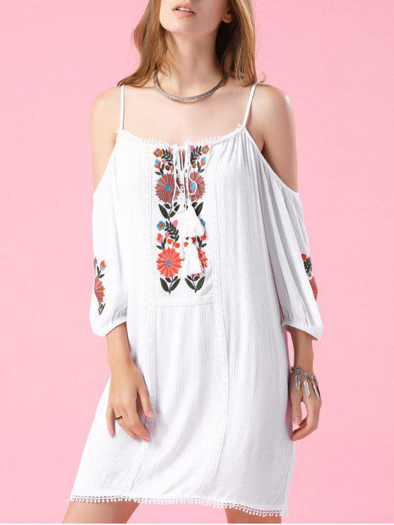 women's Embroidered Cold Shoulder White Top - WHITE S