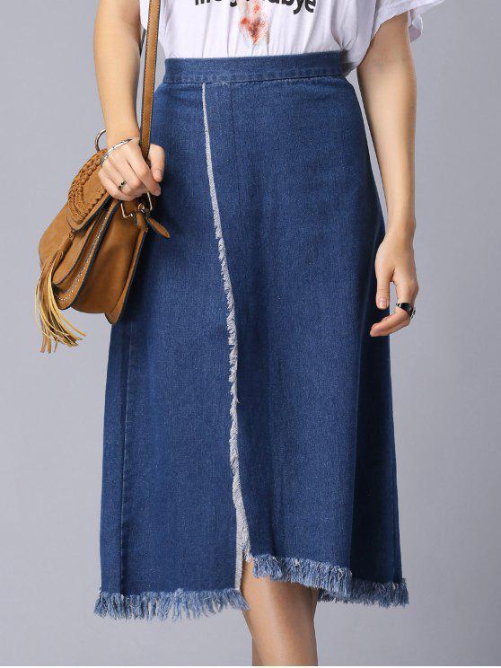 trendy Solid Color High Slit High Waist A-Line Denim Skirt - BLUE M