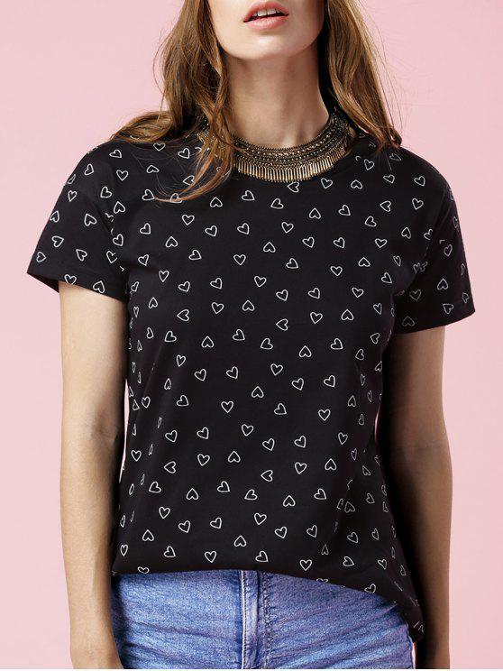 Corazón de manga corta Imprimir cuello redondo T-shirt - Negro L