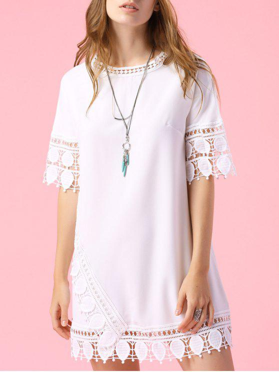 affordable Short Sleeve Lace Trim Dress - WHITE L