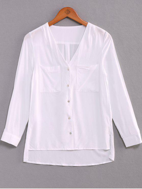 womens Single-Breasted V-Neck High Low Shirt - WHITE M