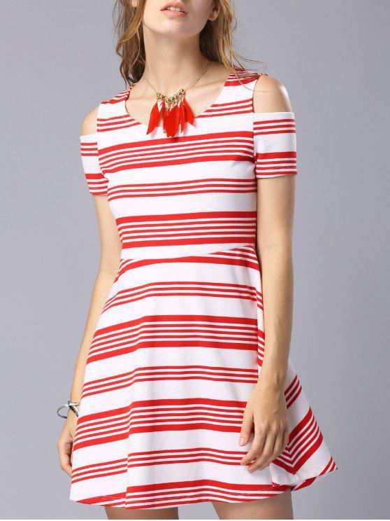 Colher Striped Neck vestido de manga curta Cold Shoulder - Vermelho M