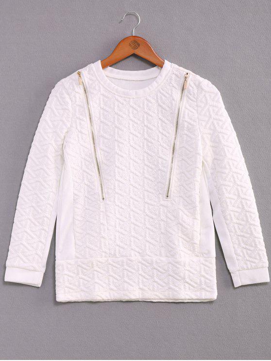 buy Solid Color Zipper Embellished Sweatshirt - WHITE L