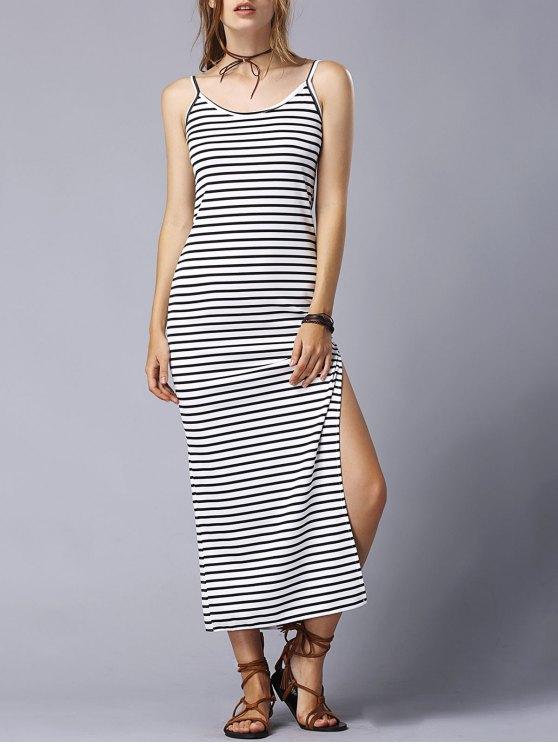 hot Striped High Slit Spaghetti Straps Sleeveless Dress - WHITE AND BLACK XL