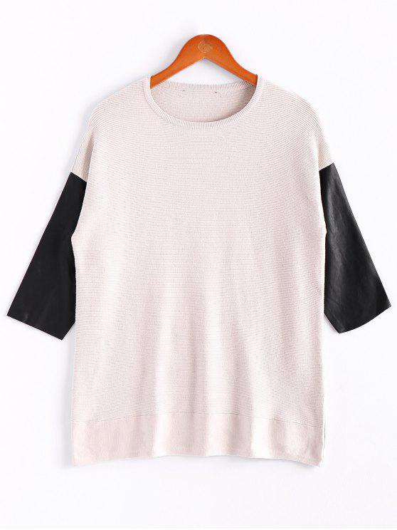 buy PU Leather Splicing Scoop Collar Knitwear - OFF-WHITE S