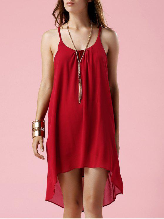 chic Irregular Hem Spaghetti Strap Slip Dress - RED L