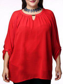 La Cucharada De Moda Rojo Del Cuello 3/4 Manga Plisada Blusa Para Las Mujeres - Rojo L