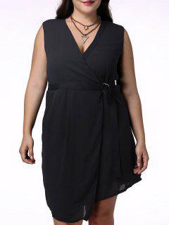 Hundiendo Elegante Sin Mangas Vestido De Cuello Del Abrigo Para Las Mujeres - Negro 4xl