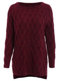 Argyle Asymmetrical Long Sleeve Sweater - Claret
