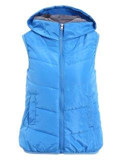Solid Color Hooded Zipper Waistcoat - Blue Xl