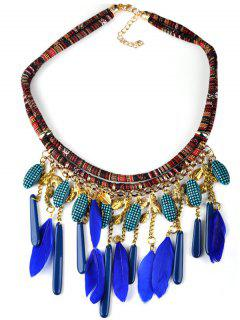 Bohemian Blue Feathers Shell Pendant Necklace - Blue