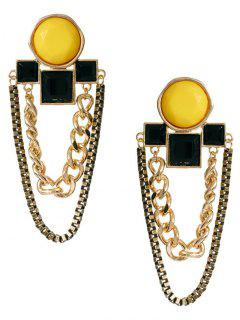 Geometry Double Chians Dangle Earrings - Yellow