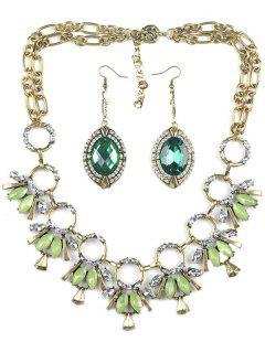 Hoop Faux Crystal Necklace And Earrings - Light Green